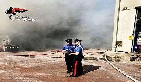 Incendio Montegrotto rifiuti 1-3