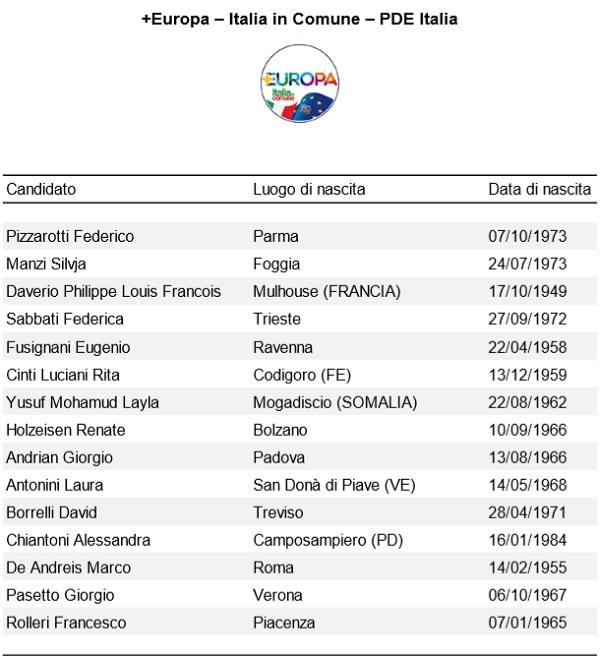 Europee Più Europa Italia in Comune Pde Italia-2