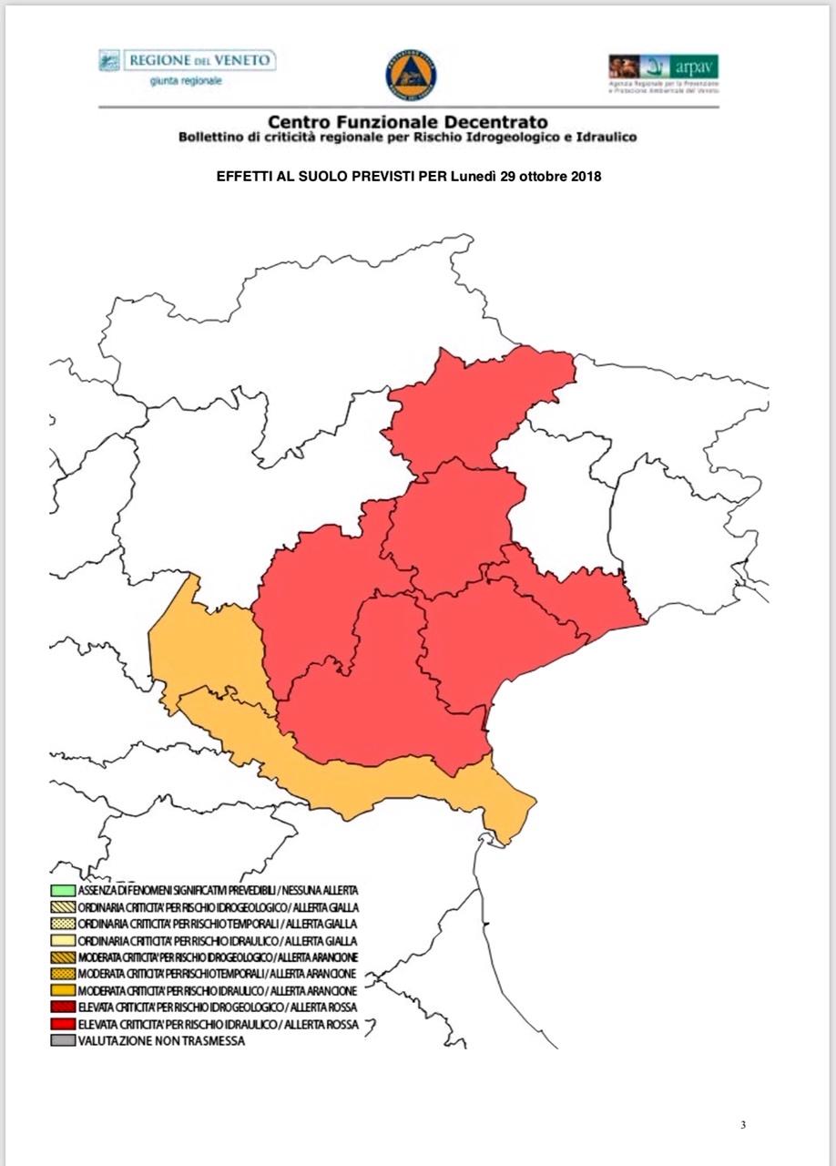 Veneto Regione Cartina.In Arrivo Forte Maltempo In Veneto Il Presidente Zaia Istituisce E Convoca L Unita Di Crisi Il 28 Ottobre 2018
