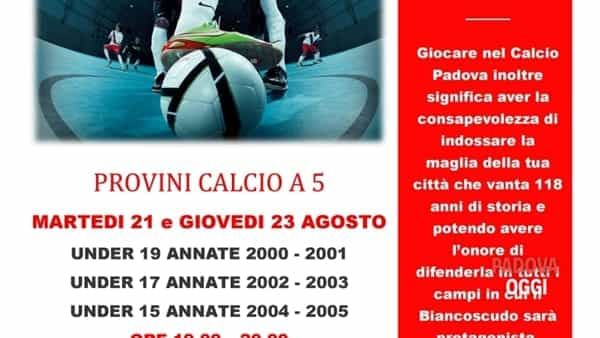 Calcio a 5: provini per ragazzi e ragazze con il Calcio Padova