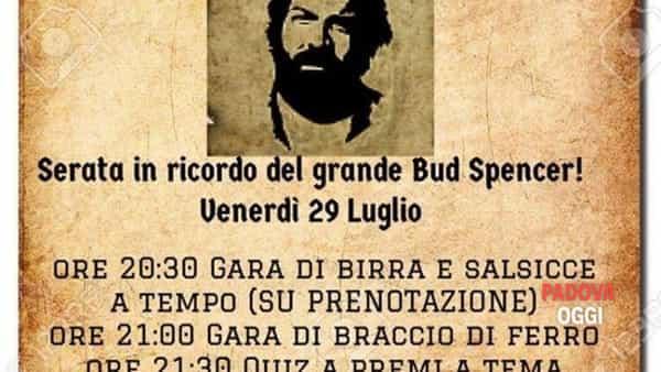 """""""Ciao Bud Spencer!"""", serata in ricordo dell'attore a Padova"""
