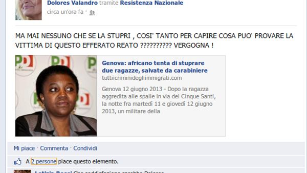 "Il post ""incriminato"" comparso su Facebook"