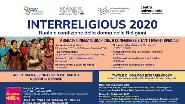 """Rassegna """"Interreligious 2020"""": cinema, musica e tavole rotonde per favorire il dialogo interreligioso a Padova"""