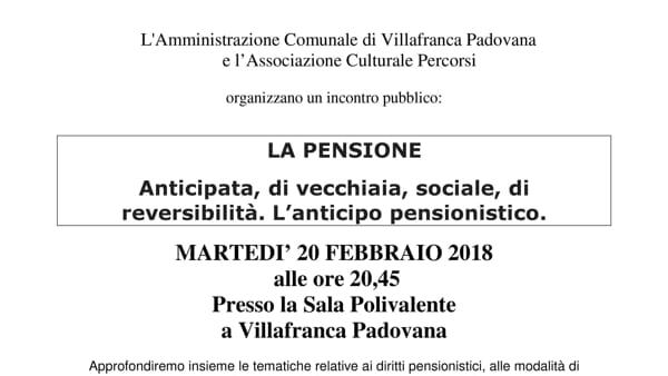 Ape volontaria e altre novità sulle pensioni, incontro a Villafranca Padovana