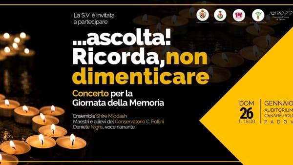 """""""...ascolta! Ricorda, non dimenticare"""", concerto in occasione della giornata della Memoria al Pollini"""