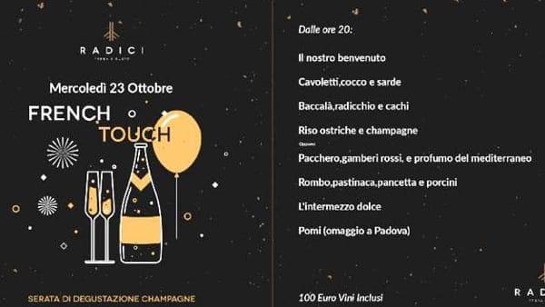 Radici e champagne, cena speciale da Valentinetti