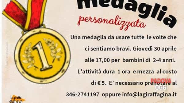 """""""Medaglia personalizzata"""", laboratorio creativo presso la giraffa Gina"""