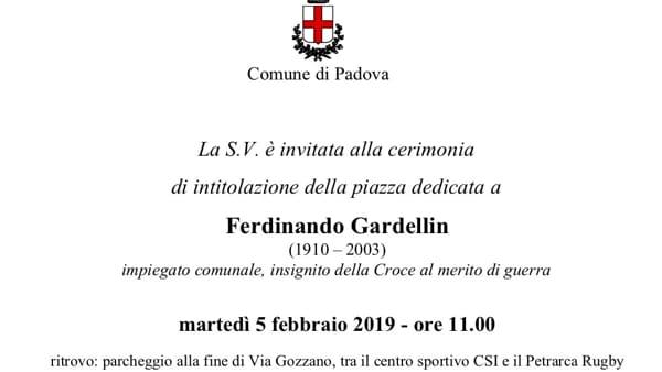 Cerimonia di intitolazione della piazza dedicata a Ferdinando Gardellin