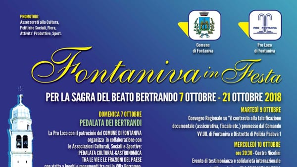 Fontaniva in festa con le associazioni e sagra del Beato Bertrando