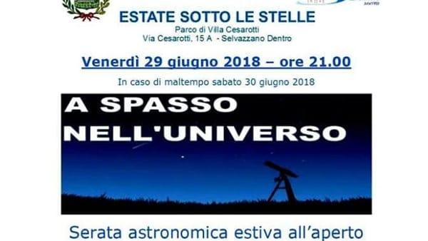 """Serata astronomica """"A spasso nell'Universo"""" al Parco di Villa Cesarotti"""