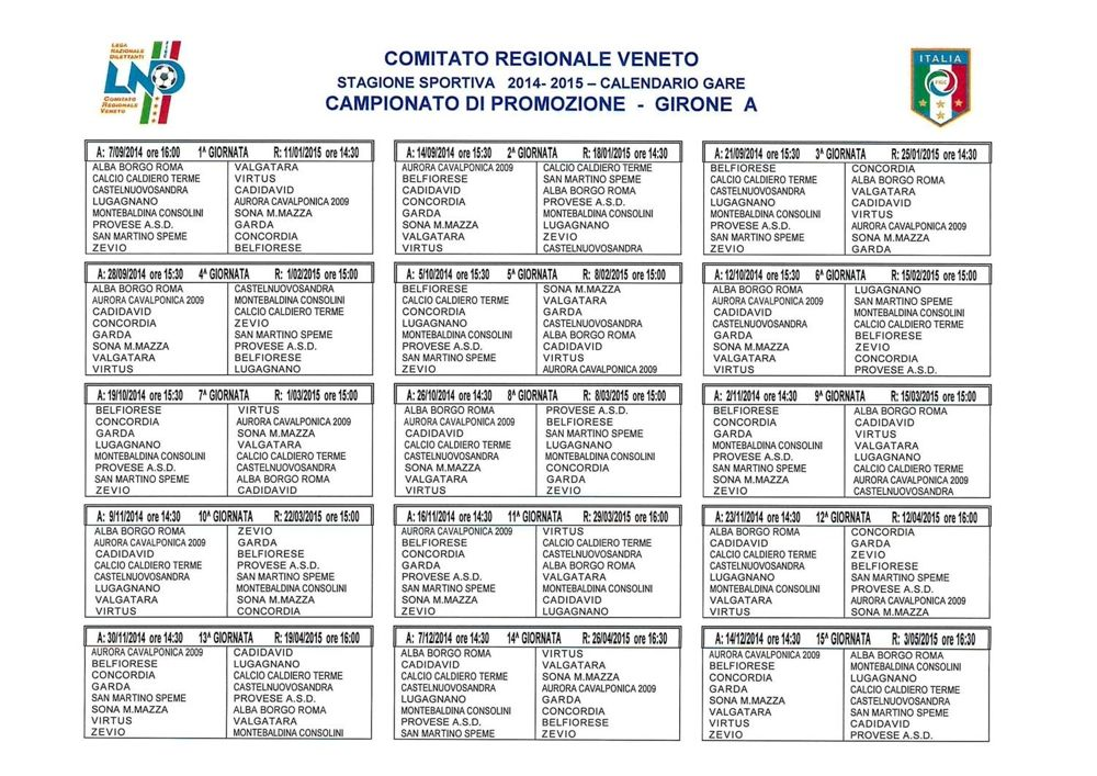 Calendario Promozione Campania.Calendari Campionati Regionali Veneto 2014 2015