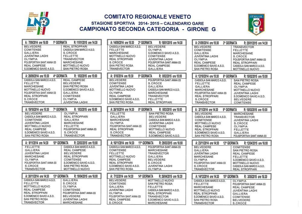 Calendario Promozione Abruzzo.Calendari Campionati Regionali Veneto 2014 2015