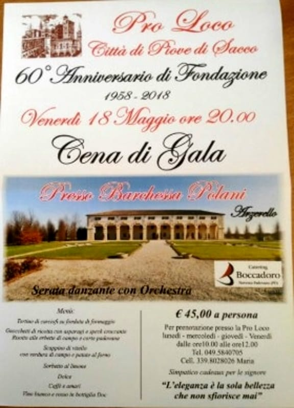 Cena Di Gala Per I 60 Anni Di Attivita Della Pro Loco Di Piove Di Sacco A Villa Polani Il 18 Maggio 2018 Eventi A Padova
